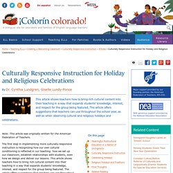 Culturally Responsive Instruction for Holiday and Religious Celebrations