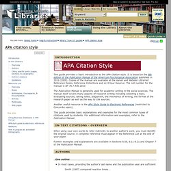 APA Citation Style · Library How To Guides