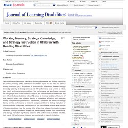 Working Memory, Strategy Knowledge, and Strategy Instruction in Children With Reading Disabilities