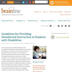 Guidelines for Providing Homebound Instruction to Students with Disabilities