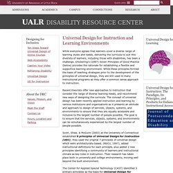 Universal Design for Instruction and Learning Environments - Disability Resource Center