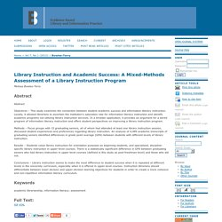 Library Instruction and Academic Success: A Mixed-Methods Assessment of a Library Instruction Program