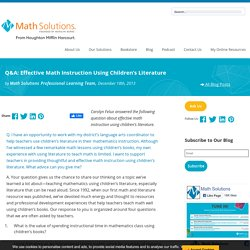 Q&A: Effective Math Instruction Using Children's Literature