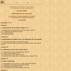 Choses à observer et à éviter concernant la très sainte Eucharistie (2004)