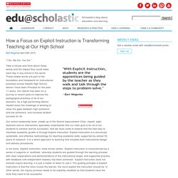 How a Focus on Explicit Instruction is Transforming Teaching at Our High School