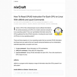 How To Read CPUID Instruction For Each CPU on Linux With x86info and cpuid Commands