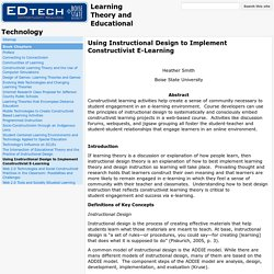 Using Instructional Design to Implement Constructivist E-Learning - Learning Theory and Educational Technology