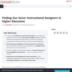 Finding Our Voice: Instructional Designers in Higher Education