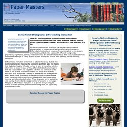Custom Research Papers on Instructional Strategies for Differentiating