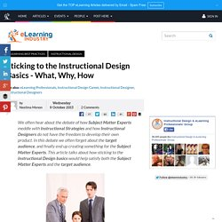 Sticking to the Instructional Design Basics - What, Why, How