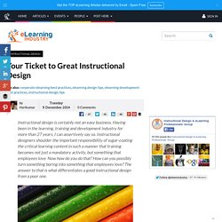 Your Ticket to Great Instructional Design