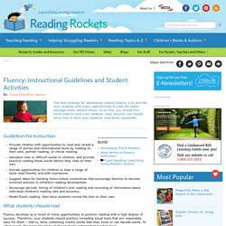 Fluency: Instructional Guidelines and Student Activities