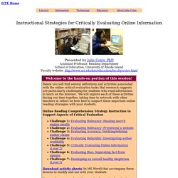 Instructional Strategies for Critically Evaluating Online Information