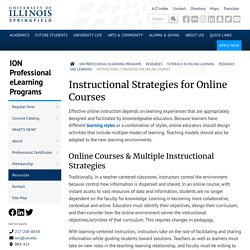Instructional Strategies for Online Courses – ION Professional eLearning Programs - University of Illinois Springfield - UIS