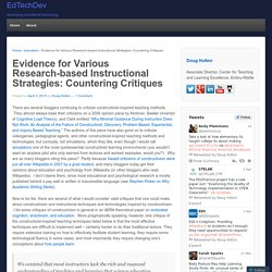 Evidence for Various Research-based Instructional Strategies: Countering Critiques