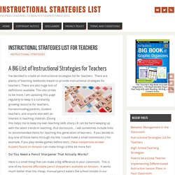 Instructional Strategies List for Teachers