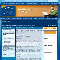Instructional Design for E-Learning Online Course University of Wisconsin-Stout