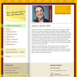 Effective and Efficient Teaching » Anita L. Archer, PhD