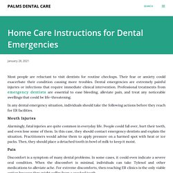 Home Care Instructions for Dental Emergencies