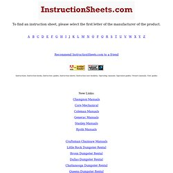 Instructions - Manuals - Guides | InstructionSheets.com