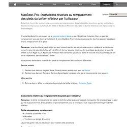MacBookPro: instructions relatives au remplacement des pieds du boîtier inférieur par l'utilisateur
