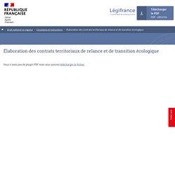 Légifrance - Elaboration des contrats territoriaux de relance et de transition écologique