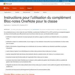 Instructions pour l'utilisation du complément Bloc-notes OneNote pour la classe - OneNote