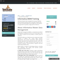 Know About Informatica MDM Training