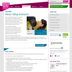 Horse riding instructor Job Information