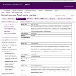 Active Learning - Library Instructors' Toolkit - LibGuides at Northwestern University