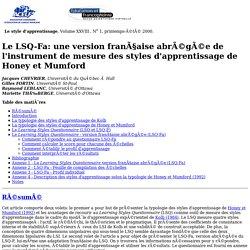 28:1 - Le LSQ-Fa: une version française abrégée de l'instrument de mesure des styles d'apprentissage...