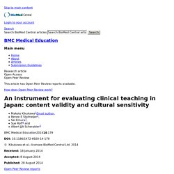 An instrument for evaluating clinical teaching in Japan: content validity and cultural sensitivity