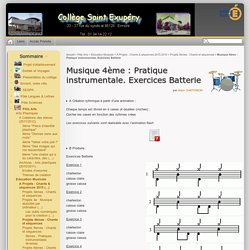 Musique 4ème : Pratique instrumentale. Exercices Batterie