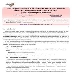 Una propuesta didáctica de Educación Física. Instrumentos de evaluación de la enseñanza del maestro/a y del aprendizaje del alumno/a
