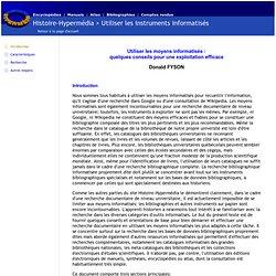 Histoire-Hypermédia - Utiliser les instruments informatisés