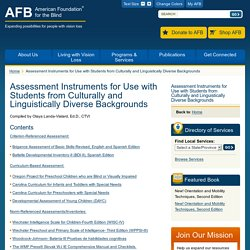 Assessment Instruments for Use with Students from Culturally and Linguistically Diverse Backgrounds