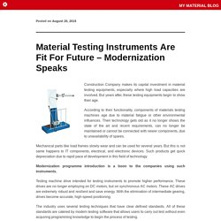 Material Testing Instruments Are Fit For Future – Modernization Speaks