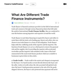 What Are Different Trade Finance Instruments?
