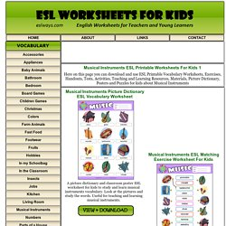 Musical Instruments ESL Printable Worksheets For Kids 1