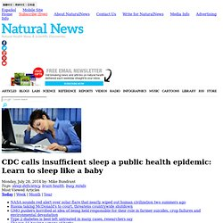 CDC calls insufficient sleep a public health epidemic: Learn to sleep like a baby