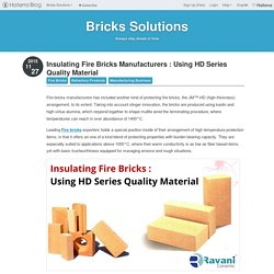 Insulating Fire Bricks Manufacturers : Using HD Series Quality Material - Bricks Solutions
