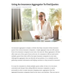 Using An Insurance Aggregator To Find Quotes