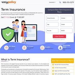 Term Insurance - Compare Top Term Plans, Get ₹1 Cr Cover @ ₹565/M*