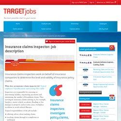 Insurance claims inspector: job description