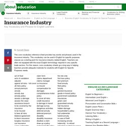Insurance Industry Vocabulary