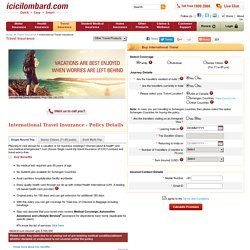 Travel Insurance for International Trips - Buy or Renew Online - ICICI Lombard