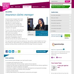 Insurance claims manager Job Information
