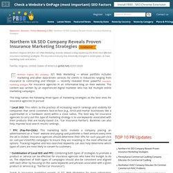 Northern VA SEO Company Reveals Proven Insurance Marketing Strategies