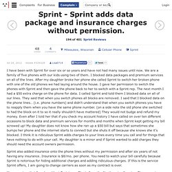 Sprint adds data package and insurance charges without permission.