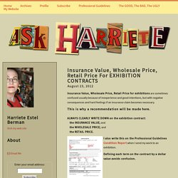 Insurance Value, Wholesale Price, Retail Price For EXHIBITION CONTRACTS - Ask Harriete